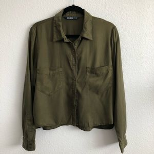Zara Basics Utility Button Down Shirt
